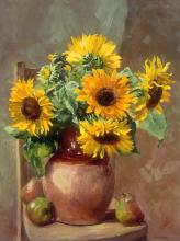 Sunflowers with Pears - Greetings Card by Anne Cotterill
