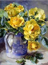 Yellow Roses - Blank/Birthday Card by Anne Cotterill Flower Art
