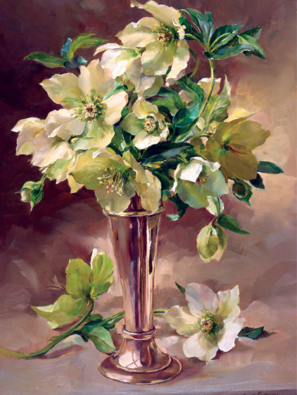 Hellebores with Silver Christmas Card