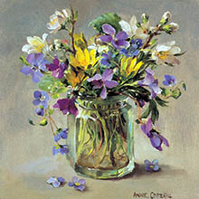 Small square flower cards by Anne Cotterill