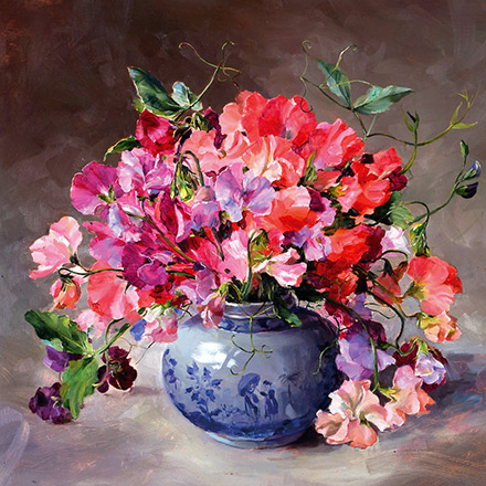 Bouquet of Sweet Peas - new birthday card by Anne Cotterill