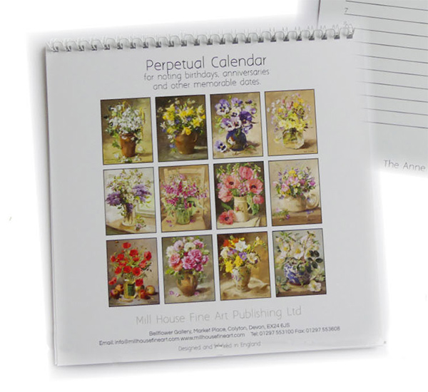 Seasonal Anne Cotterill Flower Art for each month in this new perpetual calendar.